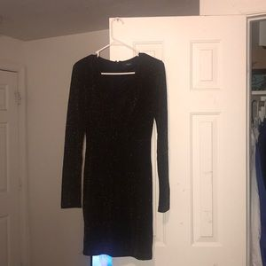 Black and gold long sleeved dress